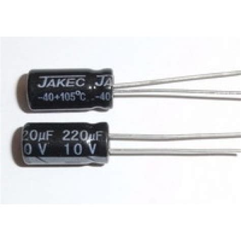 the voltage across a capacitor falls from 10v to 5v 220uf 10v 105c radial electrolytic capacitor 5x11mm