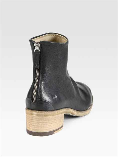 mars 232 ll leather wooden heel ankle boots in black lyst