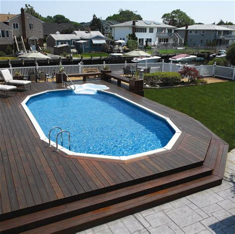 Pool Backyard Designs Modern Wooden Deck Semi Inground In Ground Swimming Pool Designs