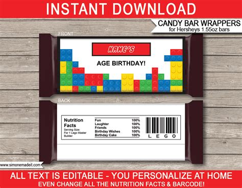 templates for bar wrappers lego hershey bar wrappers personalized bars