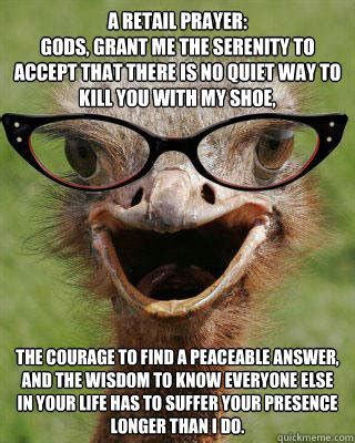 Serenity Prayer Meme - judgmental bookseller ostrich memes quickmeme