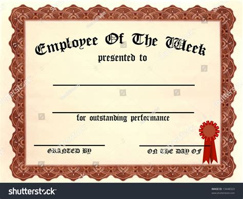Employee Week Certificate Fill Blanks Stock Illustration