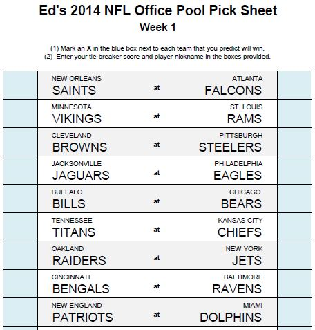 pick sheets ed s nfl office pool
