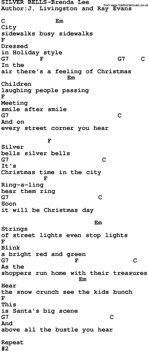 printable lyrics for silver bells country music silver bells brenda lee lyrics and chords