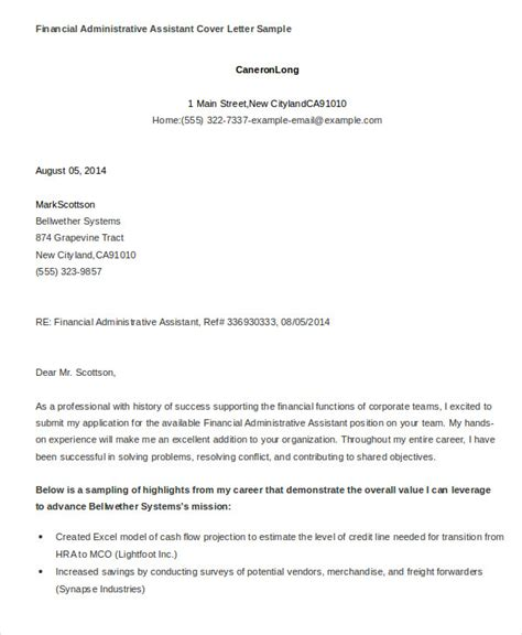 financial assistant cover letter administrative assistant cover letter 8 free word pdf