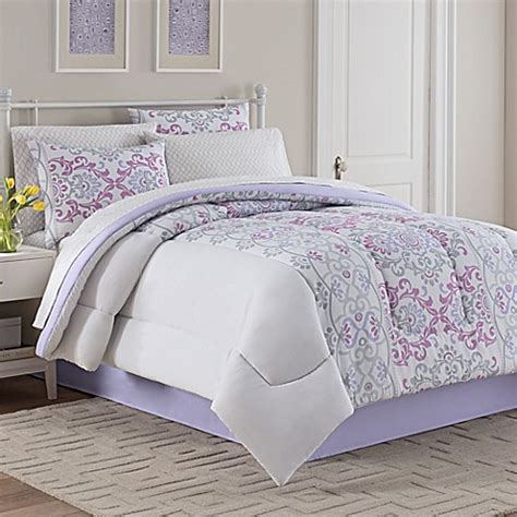 katrina comforter set in grey lavender bed bath beyond