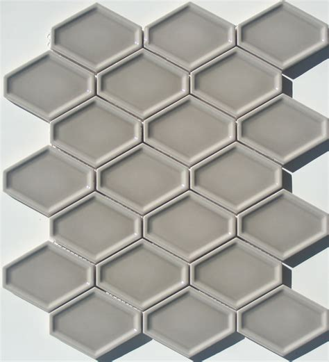 lyric lounge collection elongated hex tile concave in greige