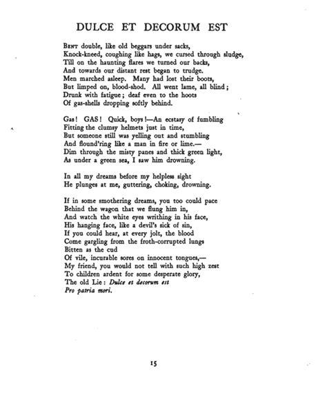 Wilfred Owen Dulce Et Decorum Est Essay by Poetry Essay On Dulce Et Decorum Est Skapa Ru