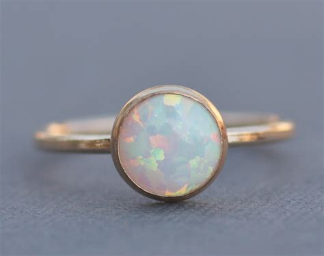 best seller gold filled white opal ringgenuine white opal