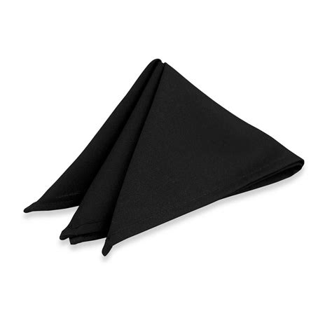 Square Polyester by Square Polyester Napkin Black 22