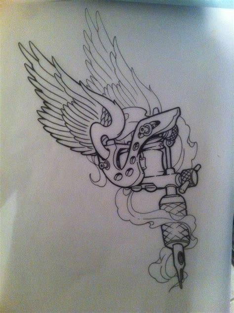 winged tattoo machine gun tattoo design