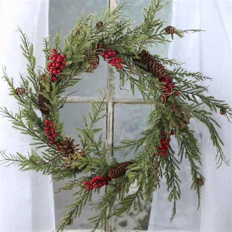 artificial cedar and berry wreath wreaths floral