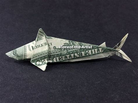 Dollar Origami Shark - shark dollar origami sea fish animal made of real money