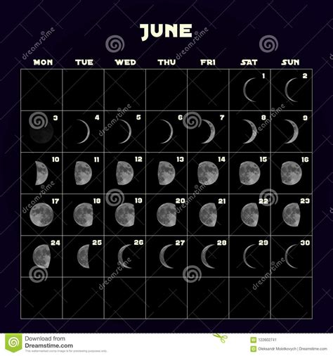 moon phases calendar    realistic moon june