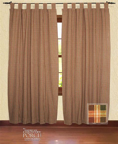 Draperies And Curtains New England Plaid Tab Top Window Curtain Panels