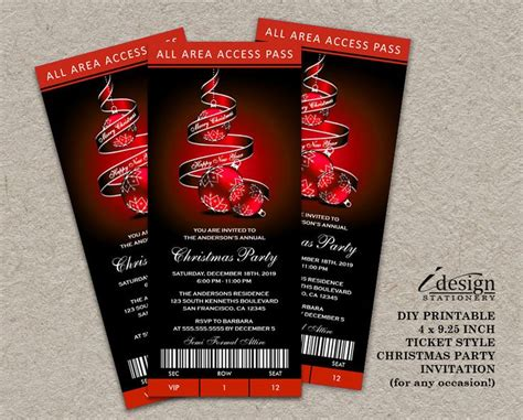 printable tickets for christmas party 32 best ticket style invitations images on pinterest