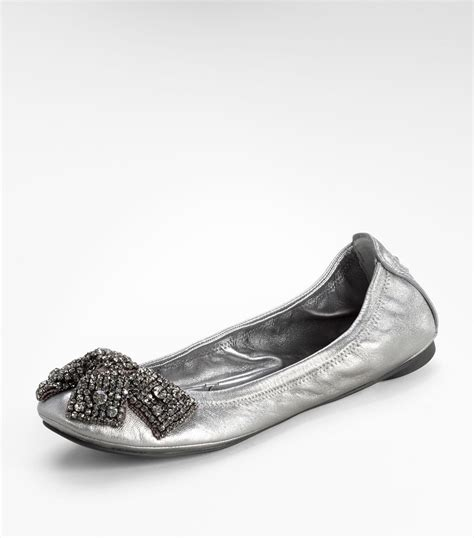 silver shoes flats burch metallic eddie ballet flat with bow in