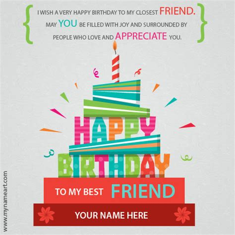 Happy Birthday To My Best Friend Card Write Name On Best Friend Birthday Wishes Greeting Card