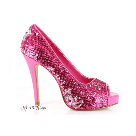 pink flamingo sequin peep toe pumps