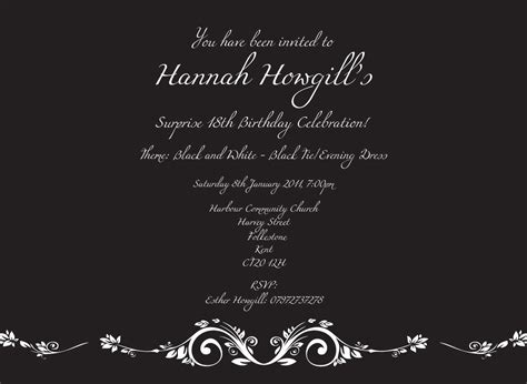 18th birthday invites template best template collection