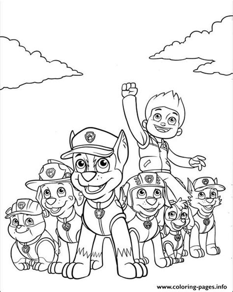 paw patrol ryder and his powerful team coloring pages