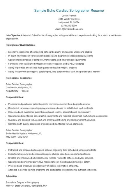 Cardiac Sonographer Resume Template by Gallery Of Cardiac Sonographer Resume