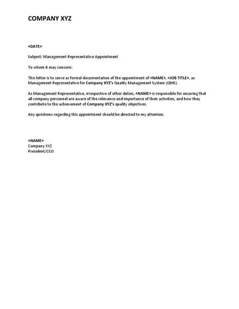 Appointment Letter As Representative Iso 9001 Appointment Letter Management Rep