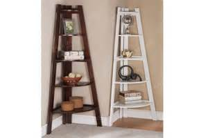 furniture white wooden corner bookcase with ladder shaped