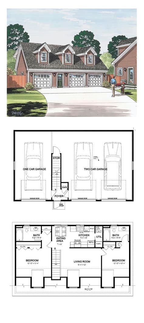 Garage Apartment Plan 30032 Total Living Area 887 Sq