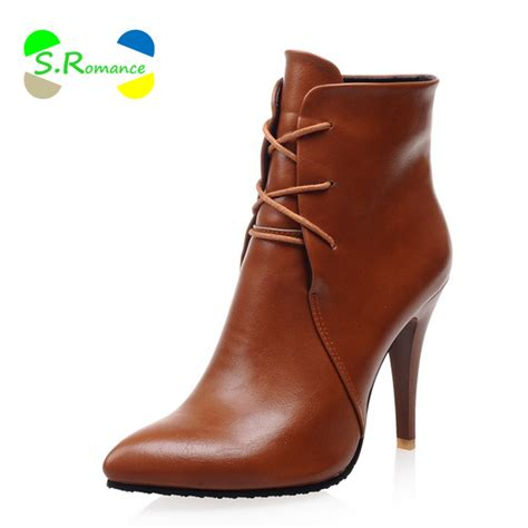 boots ankle lace up plus size 33 43 high thin heels