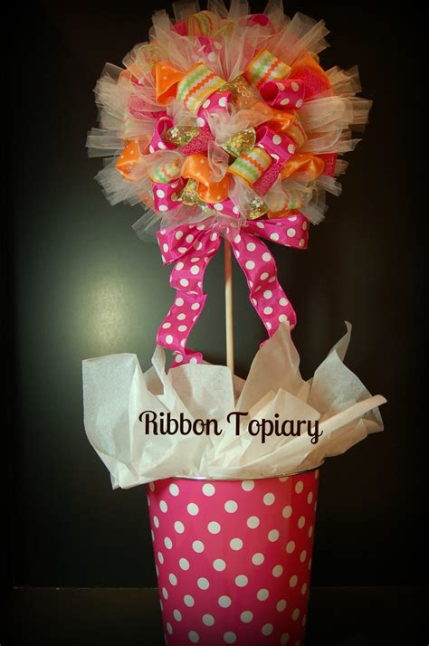Make Decorations - ribbon topiary pink polka dot creations