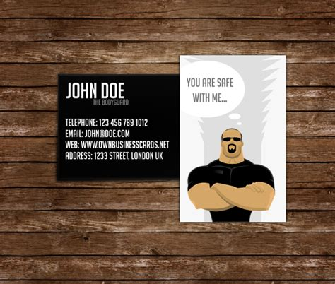 bodyguard business card templates bodyguard business card