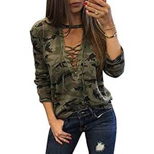 womens shirts camouflage print t shirt lace long sleeve up