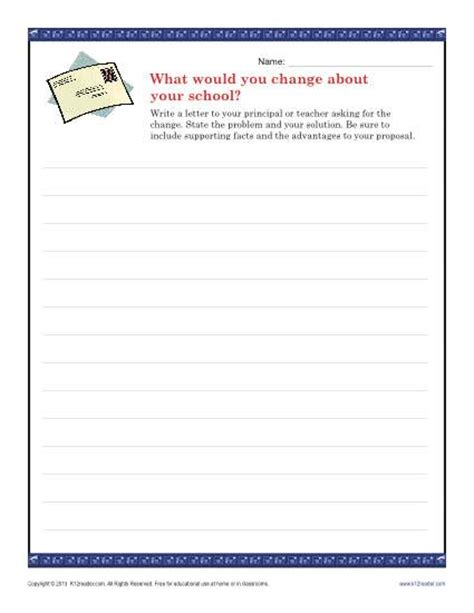 Letter Prompts School Change Letter Persuasive Writing Prompt For 9th 12th Grade
