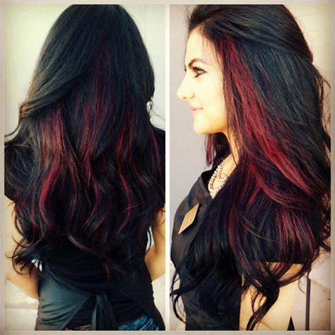 pictuted of red highlights on dark hair with spiky cut dark hair with red peekaboo highlightsmy hair styles