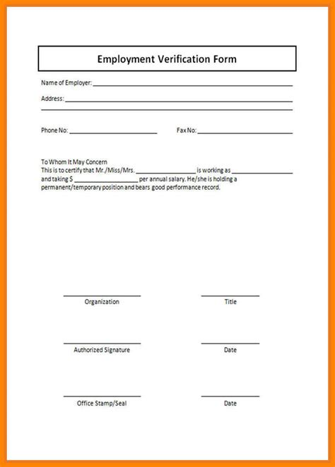 proof of employment form template proof of employment form resumes