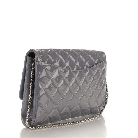 Poses With Chanel Flower Flap As Clutch by Chanel Patent Quilted Clutch With Chain Flap Lavender 164120