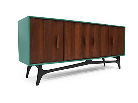 1950s Furniture by 1950 S Green Lacquered American Walnut Sideboard