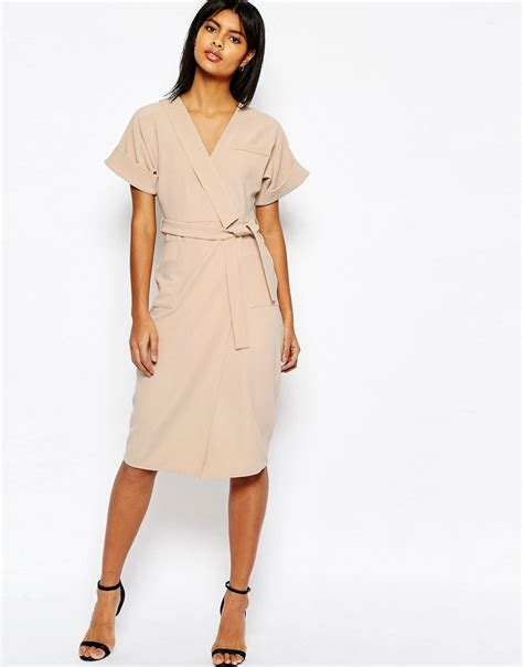 Obi Style Sash Belt At Asos by Asos Asos Structured Pencil Dress In Multi Stitch With