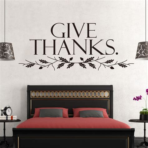 vinyl bedroom wall quotes large size102 42cm give thanks vinyl wall sticker quotes