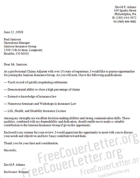 Letter For Insurance Claim For A Claims Adjuster Cover Letter Sle