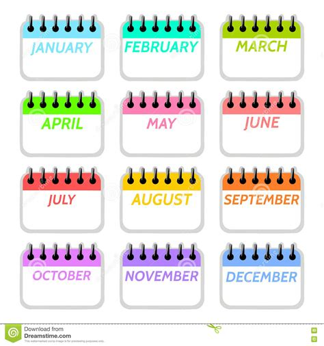 Month Of The Calendar Simple Collection Of Calendar Months Icons Stock Vector