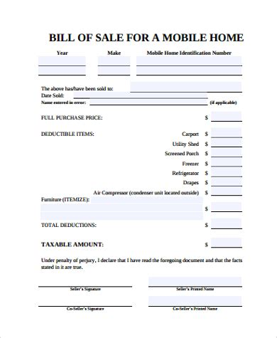 Bill Of Sale For A Mobile Home Mobile Home Bill Of Sale 6 Free Documents In Pdf