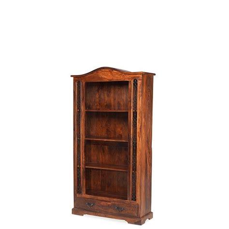 Wood Bookcase With Drawers Jali Sheesham Wood Bookcase With 1 Drawer