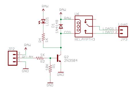 transistor relay circuit resistors on transistor base