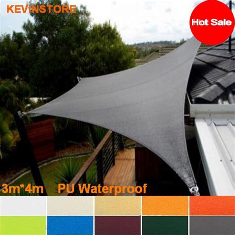3m x 4m 160gsm waterproof sun shade sail outdoor awning