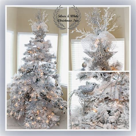 tree with white and silver decorations of homes decor a silver white tree