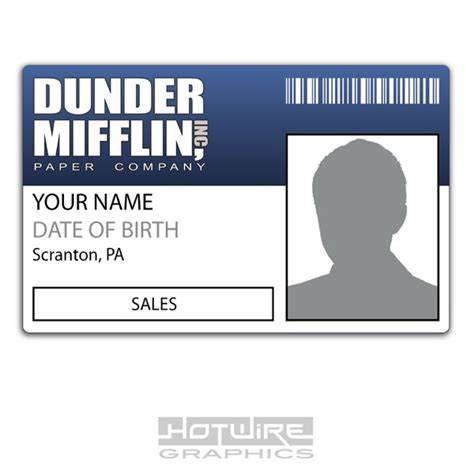 Mifflin Name Badge Template Personalised Printed Novelty Id Dunder Mifflin Paper American Office Tv Show 620444489133 Ebay