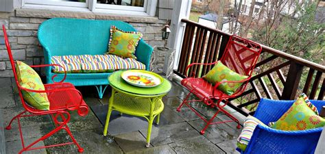 colored furniture spray painted brightly colored wicker and wrought iron