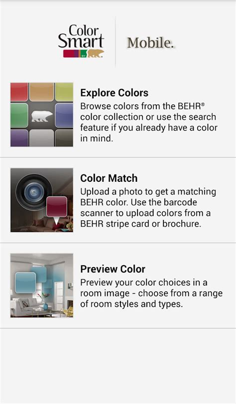 paint color match apps tools to help you choose colorsmart by behr 174 mobile android apps on google play